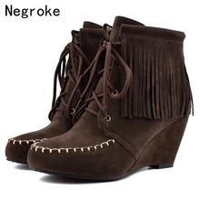 Women Snow Boots Warm Short Fur Plush Winter Ankle Boot Plus Size Wedges High Heel Ladies Tassel Booties Shoes Botas Mujer 2019