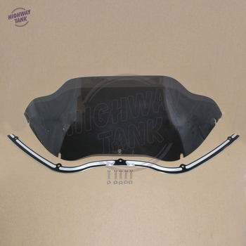 "9.5"" Smoke Wave Motorcycle Windshield Windscreen & Black Hole Shot Trim Case for Harley Road Glide 1998-2013"
