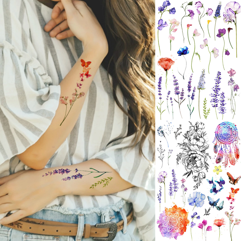Watercolor Lavender Reed Morning Glory Flower Tattoos Temporary Women Sexy Custom Tattoo Stickers Flash Fake Girls Tato Ankle(China)