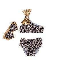 Детский бикини с леопардовым узором для маленьких девочек, костюм темно-синего цвета, комплект из 3 предметов, купальник с бантом на одно плечо, купальный костюм для купания
