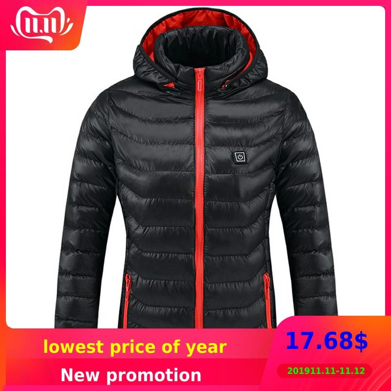 Intelligent Heated Jackets Men&women Winter Outdoor Hooded Waterproof Jackets Thermal Warm USB Heating Quickly Hiking Jackets