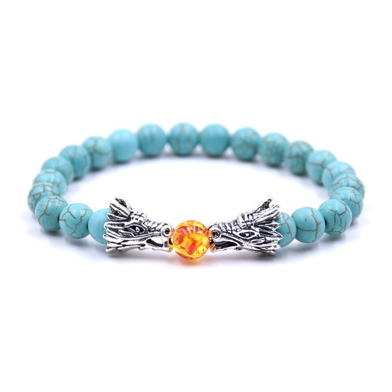 UOTOP New Tibetan Silver Color Animal Dragon Head Bracelet Men 8mm Natural Lava Stone Tiger Eye Beads Strand Yoga Bracelets 2019 in Charm Bracelets from Jewelry Accessories