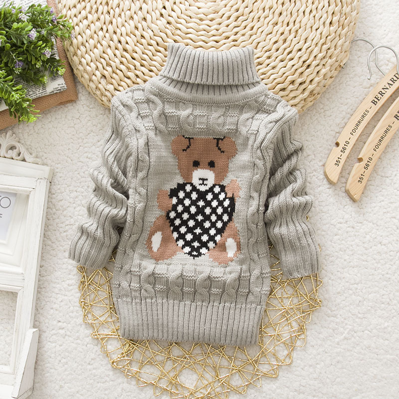 PHILOLOGY 2T-8T bear winter boy girl kid thick Knitted bottoming turtleneck shirts baby high collar pullover toddler sweater 4