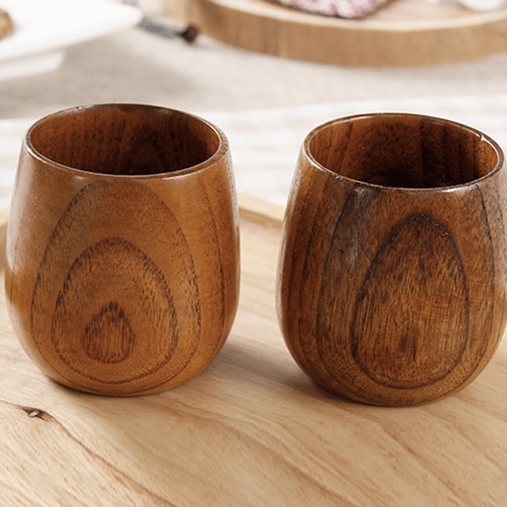 Home Japanese Style Natural Wood Tea Cups Water Cup Wood Round Tea CupsCups Green Natural Pure Handmade