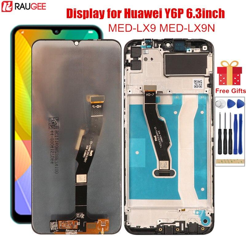 Дисплей для Huawei Y6P, ЖК-дисплей с рамкой, сенсорный экран, дигитайзер, сменный экран для Huawei Y6P, MED-LX9 MED-LX9N, 6,3 дюйма, ЖК-дисплей
