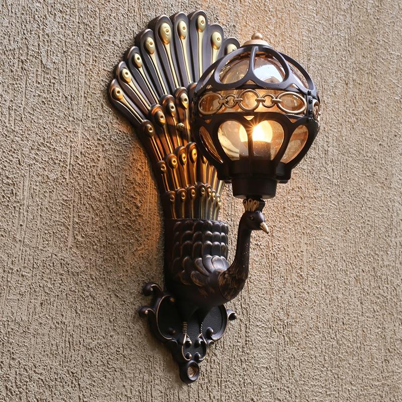 European style retro peacock wall lamp led hotel art wall lamp balcony villa door light suitable for indoor / outdoor lighting