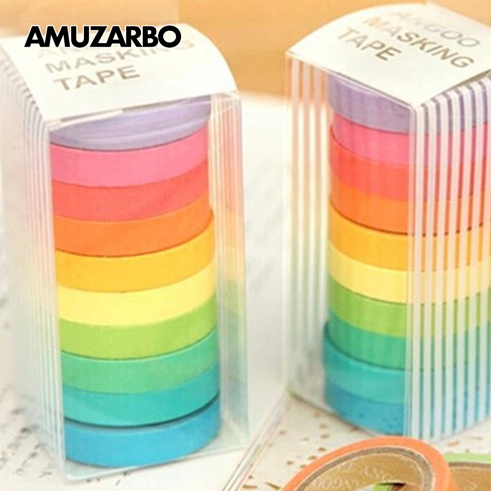 Candy Colored Washi Tape Red Pink Blue Green Yellow Pure Color Tape DIY Album Handaccount Gift Decoration Masking Tape 10pcs/set