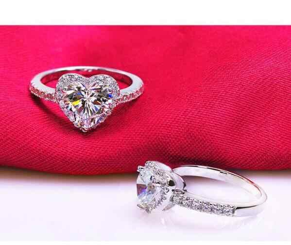 แฟชั่นเครื่องประดับ Feather งานแต่งงานแหวน 4-Prong เพชร Zircon แหวนเงิน/rose gold แหวนผู้หญิงแหวนสุภาพสตรีงานแต่งงานแหวน