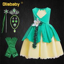 Christmas Baby Girls Tiana Dress Halloween Carnival The Princess and The Frog Costume Children's Party Fantasia Tiana Frocks цена и фото