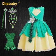 лучшая цена Christmas Baby Girls Tiana Dress Halloween Carnival The Princess and The Frog Costume Children's Party Fantasia Tiana Frocks