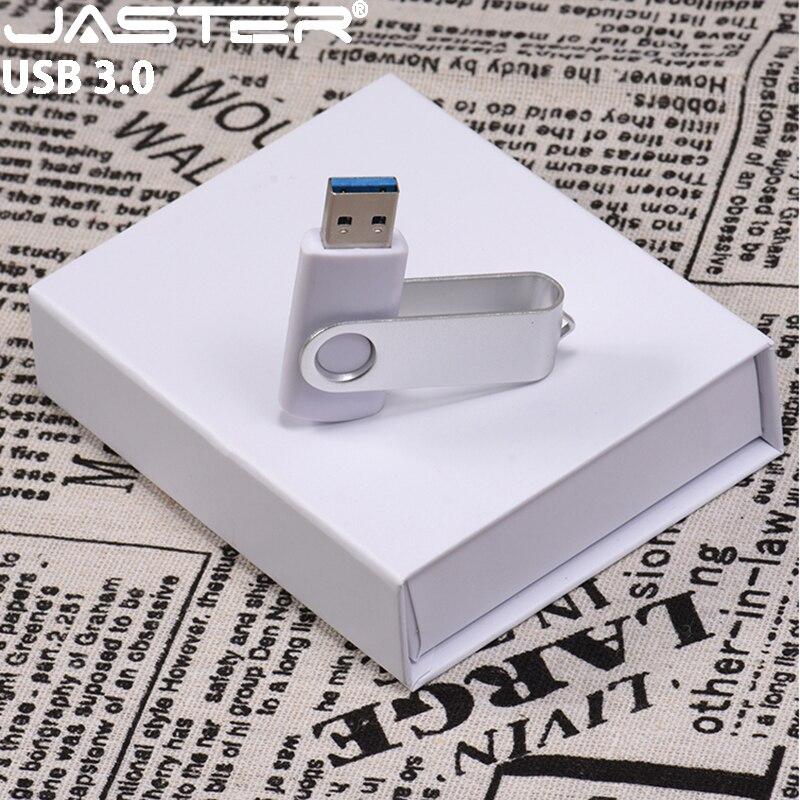 JASTER Plastic Memoria Usb  Usb Flash Drive  Usb 3.0 Flash 4GB 8GB 16GB 32GB 64GB Single Head White Paper Box Cute Flash Drive