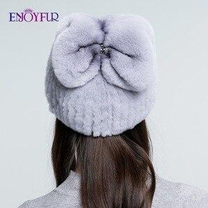Image 4 - ENJOYFUR Real Rexกระต่ายหมวกขนสัตว์ฤดูหนาวสำหรับผู้หญิงหมวกขนสัตว์ธรรมชาติแฟชั่นโบว์โบว์หญิงอบอุ่นหมวก