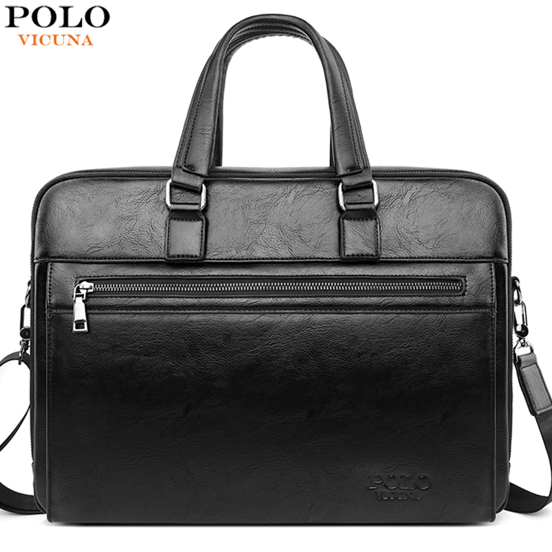 VICUNA POLO 15.6Inch Men's Business Bags Leather Laptop Briefcase Fashion OL Suitcase Multifunction Cross Body Messenger Bag