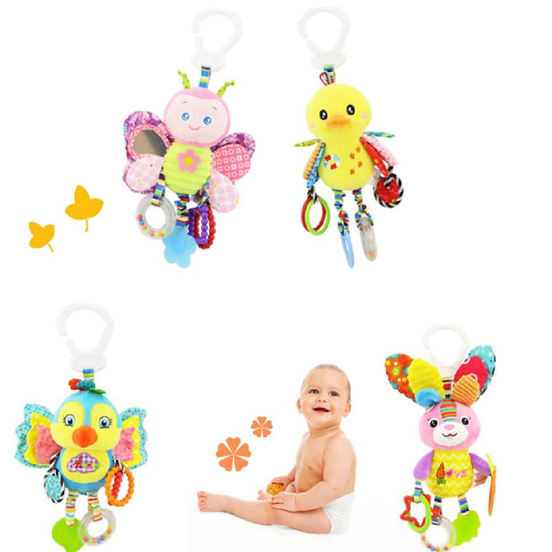 None Baby Plush Animal Stroller Bed Hanging Toys Stuffed Handbell Rattle With Teether Gift For Infants