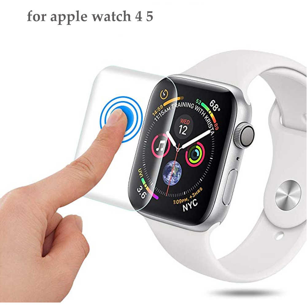 מלא מגן סרט עבור apple watch 4 5 להקת iwatch 44mm 40mm 9D נגד הלם TPU מסך מגן apple watch אבזרים