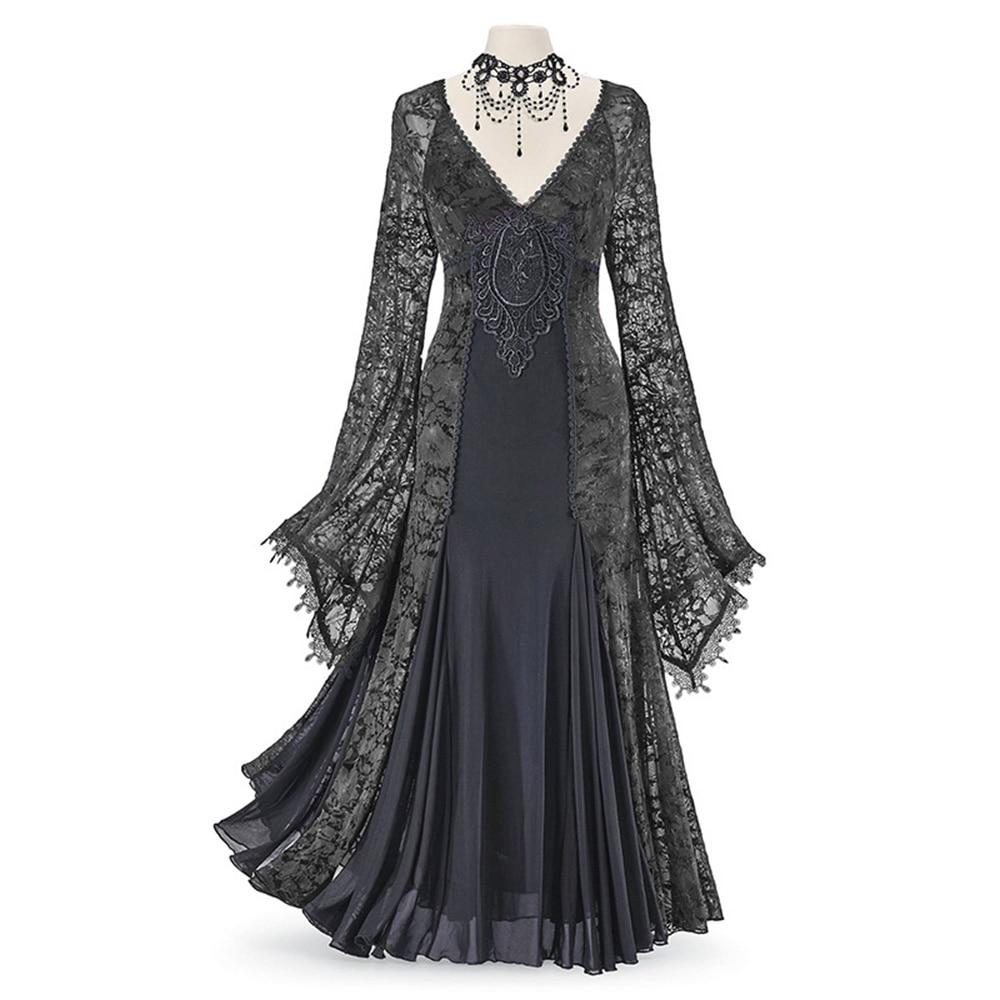 Rosetic Women Dress Lace Patchwork Chiffon Printing V Neck Retro Temperament Slim Women Vintage Dress Gown Medieva Retro Dresses