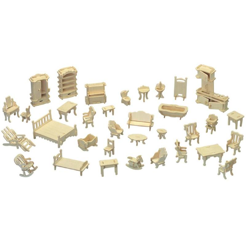 184pcs Wooden DIY Skillful Manufacture Superior Quality Cabin Furniture 3D Puzzle Die Stamping Cottage Accessories Set
