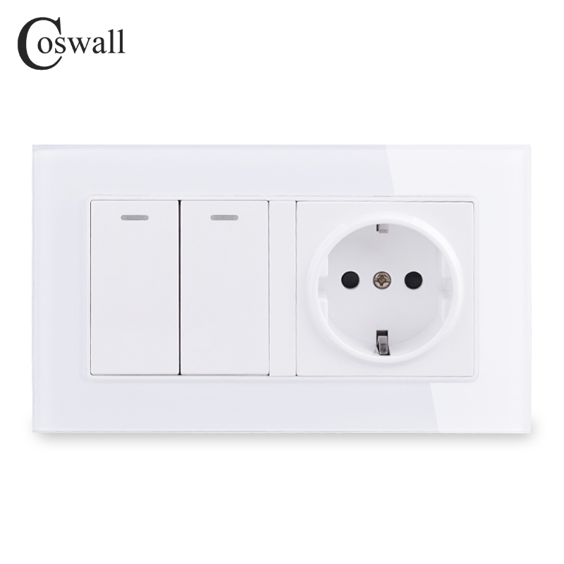 COSWALL Crystal Glass Frame Russia Spain EU Standard Wall Socket Grounded + 2 Gang 1 Way On / Off Light Switch 146*86mm