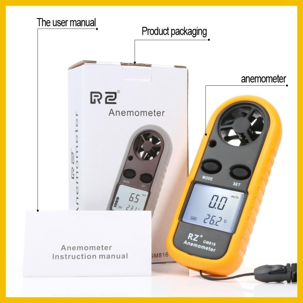 RZ – anémomètre Portable numérique portatif, jauge de vitesse du vent, 30 m/s, LCD, GM816 3