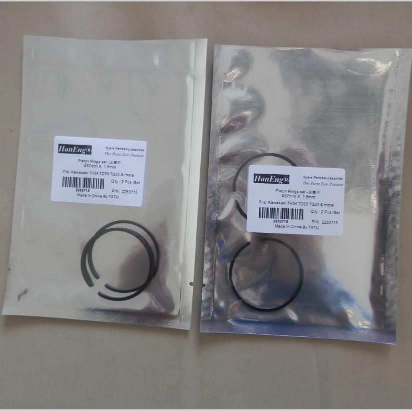 1 SET/2PCS TH34 PISTON RING 37mm FOR KAAZ KAWASAKI TD33 TG33 TRIMMER BRUSHCUTTER ZYLINDER ASSEMBLY PISTON RINGS KIT