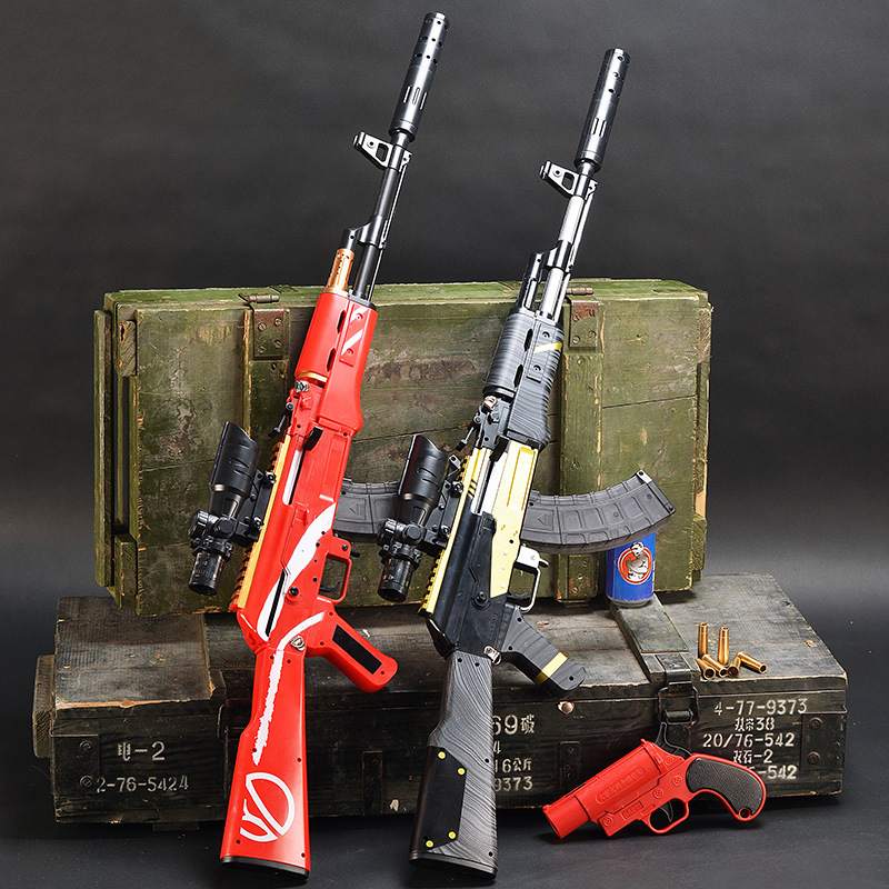 Plastic AKM AK 47 Assault Rifle Toy Gun Manual Loading Outdoor Shooting 7-8mm Water Bullet Gun Sniper Toy Guns For Boys Gifts