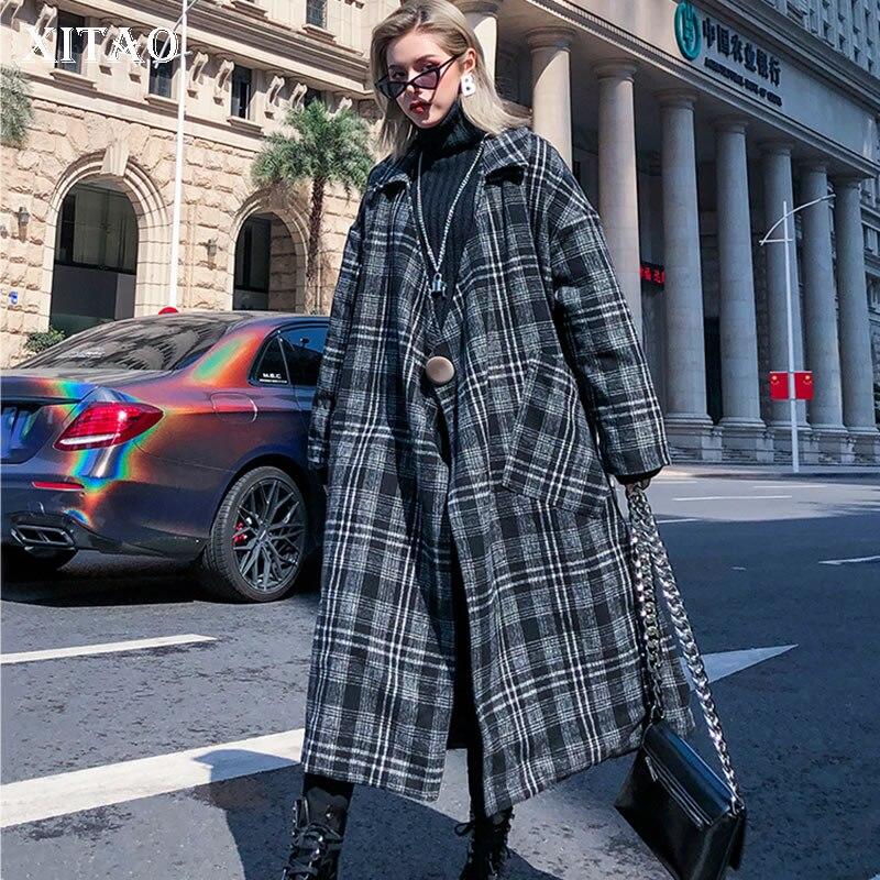 XITAO Vintage  Lattice Woolen Coat Thicken Keep Warm Autumn  Winter Women Coats Long Plus Size Top Women Streetwear GCC2589Wool