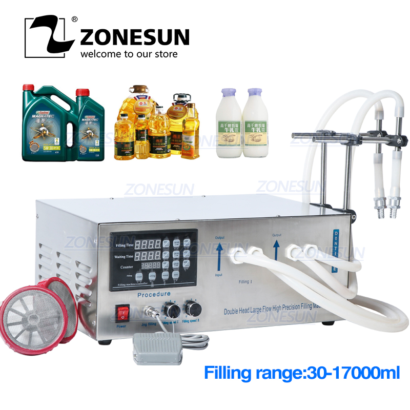ZONESUN GZ-D1 Double Head Semi Automatic Filling Machine Laundry Cooking Oil Water Juice Milk Liquid Bottle Filling Machine