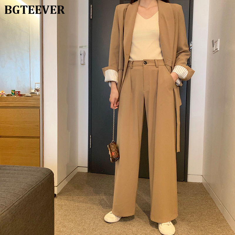 Vintage Loose Pant Suit Women Lace Up Jacket & Straight Pant Female Blazer Suits 2019 Autumn 2 Piece Set Blazer Set Femme