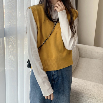 Ailegogo Spring Autumn Women's Sleeveless Knitting Vest Female V Neck Solid Color Casual Knitted Sweater Ladys Slim Knit Tops 5