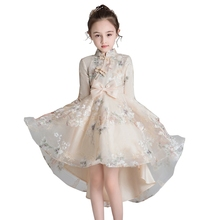 Flower Embroidery Qipao Dress for Kids Girl Bridemaid Wedding Children Tutu Gowns Girls Boutique Party Wear Elegant Frocks