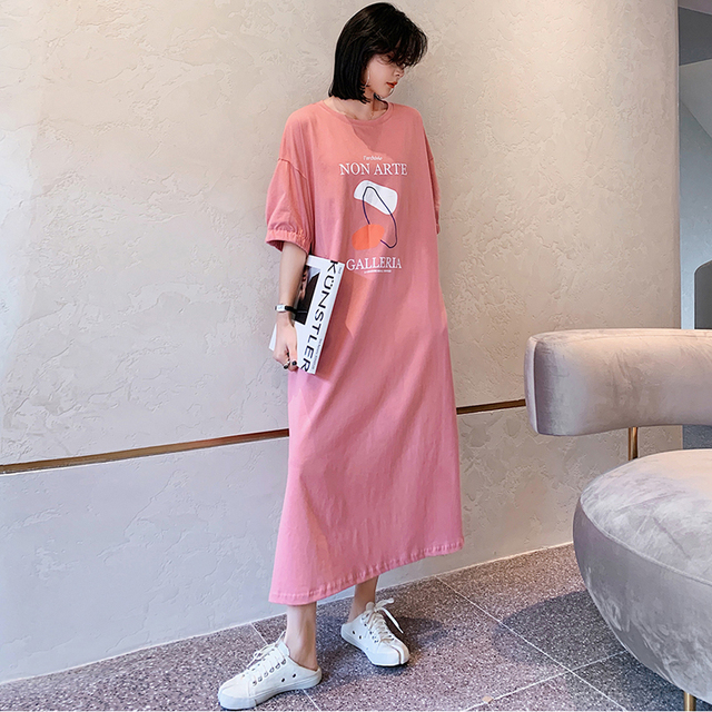 NYFS Summer Dress 2021 New Elastic bubble Short Sleeve Long Dress Vestidos Robe Elbise Fashion Cotton Printing Woman Dress 2