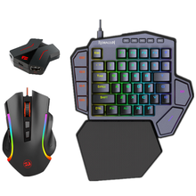 Redragon K585 One handed RGB Gaming Keyboard and M607RGB Mouse Combo with GA200 Converter for Xbox One, PS4, Switch, PS3 and PC