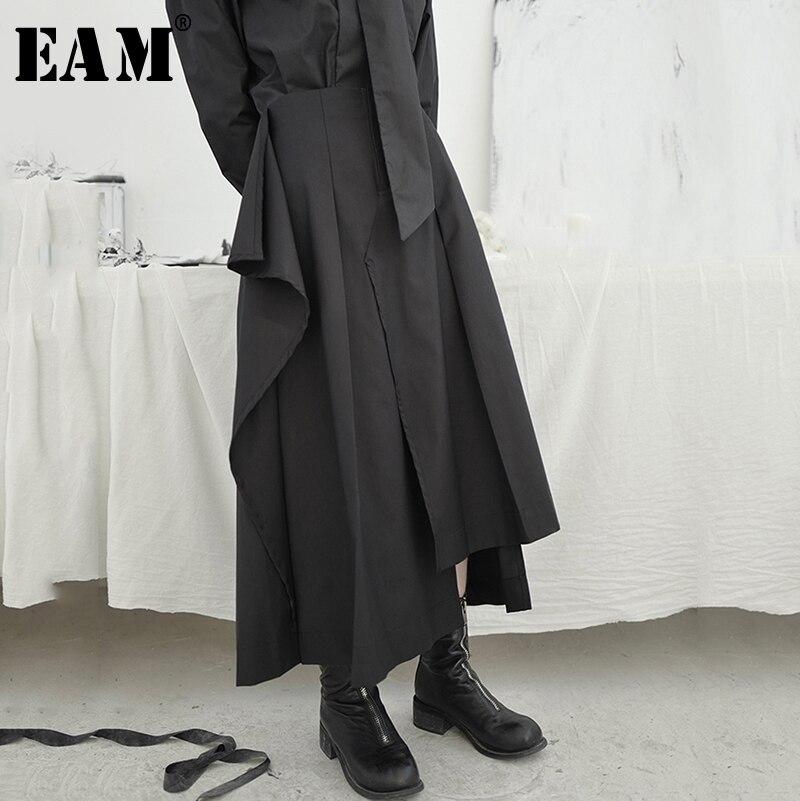 [EAM] High Waist Black Asymmetrical Vent Split Joint Temperament Half-body Skirt Women Fashion New Spring Autumn 2020 1S671