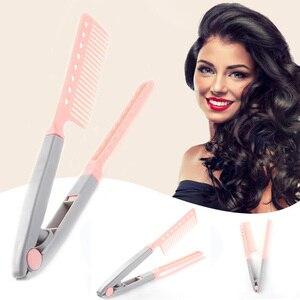 Image 1 - Peigne à cheveux Portable Type V lisseur à cheveux pliant, outil de coiffure à faire soi même