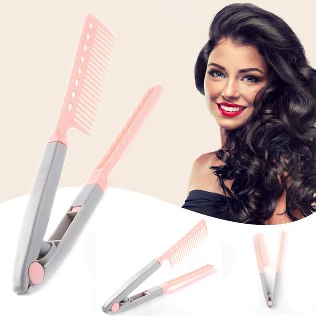 Портативный выпрямитель для волос V образный выпрямитель для волос складной Расческа для самостоятельной сборки