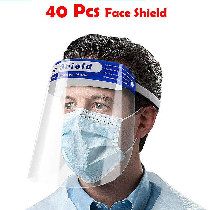 40 Pcs Professional Dental Dental Face Shield For Dentist Dental Protective Detachable Adjustable Visor Films Anti-Fog Dustproof