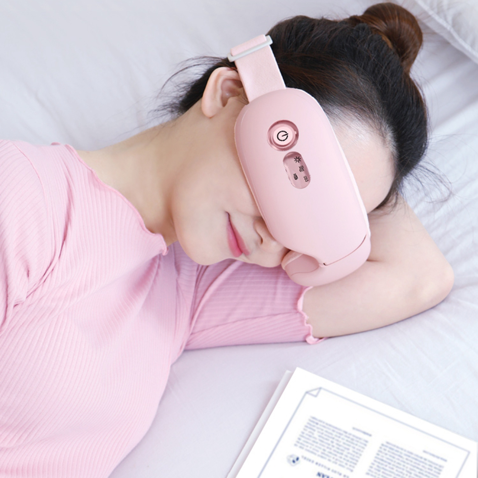 Rechargeable USB Heating Electric Eye Massager Portable Relieving Dry Eyes Heated Eye Mask Sleeping Adjustable Elastic Band