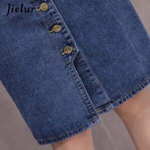 Image 5 - Jielur Hohe Taille Denim Röcke Plus Größe Buttons Taschen Klassische Jeans Rock für Frauen S 5XL Fashion Korean Elegante Jupe Femme