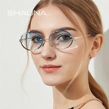 Женские Овальные Солнцезащитные очки без оправы shauna градиентные