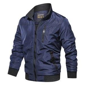 Image 4 - LBL Autumn Military Bomber Jacket Men Slim Fit 2020 Winter Casual Mens Jacket Solid Outwear Zipper Coat Man Tracksuit Windproof
