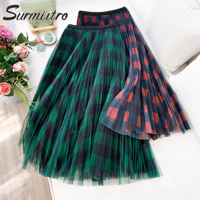 Surmiitro Plaid Long Pleated Tulle Skirt Women For 2020 Spring Summer Ladies Korean Red Green Black High Waist Maxi Skirt Female