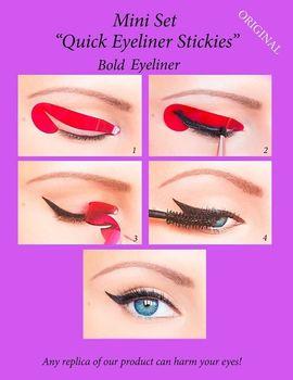 4pcs Quick Eyeliner Stickies Stencils Eye Makeup Tool SET Eyeliner Stencil Kit Eyebrows Template Shaping Frames Card