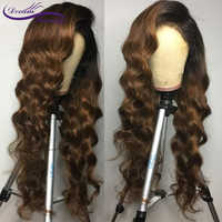 Perruque brune Ombre brésilienne Remy perruques de cheveux humains pré-cueillies ligne de cheveux naturelle ondulée 13x4 avant de lacet perruques bébé cheveux rêve beauté