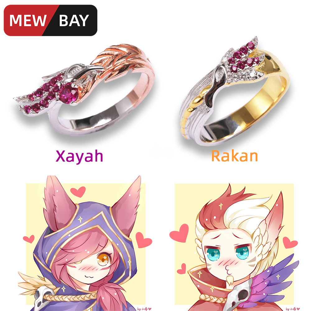 S925 Sterling Silver Couple Rings LOL Xayah and Rakan Ring League of Game Peripherals Legends Lovers Men Women Girlfriend Gifts