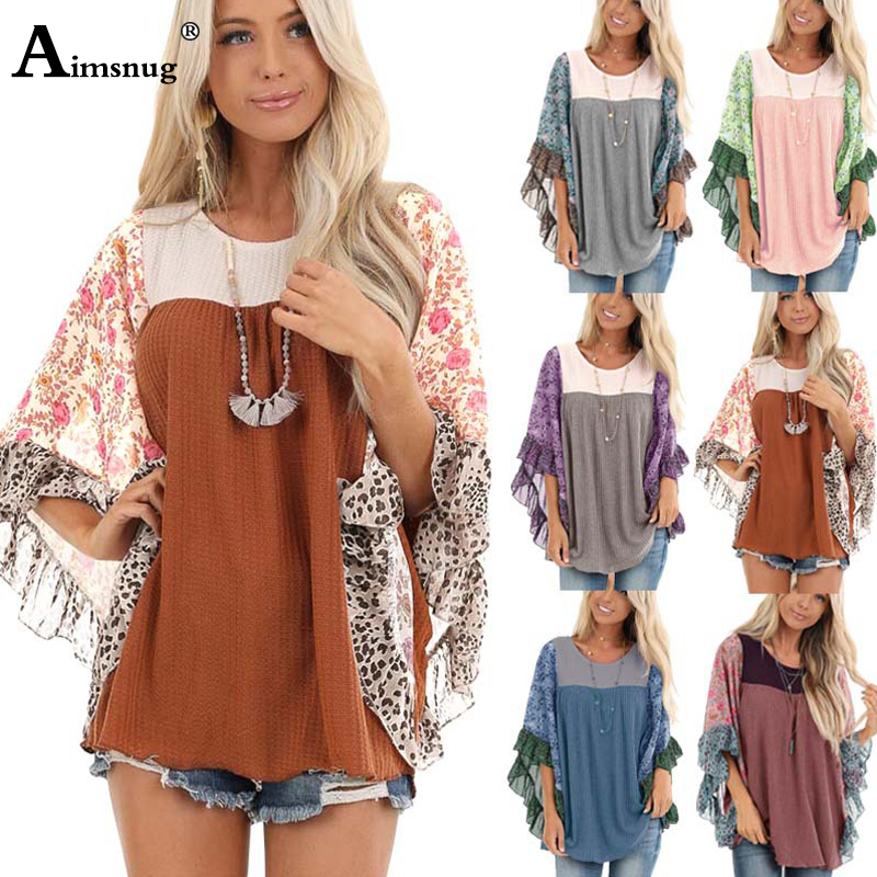 Top SaleWomen's Sweaters Pullovers Boho Loose Plus-Size O-Neck Knitting Half-Sleeve Print Autumn