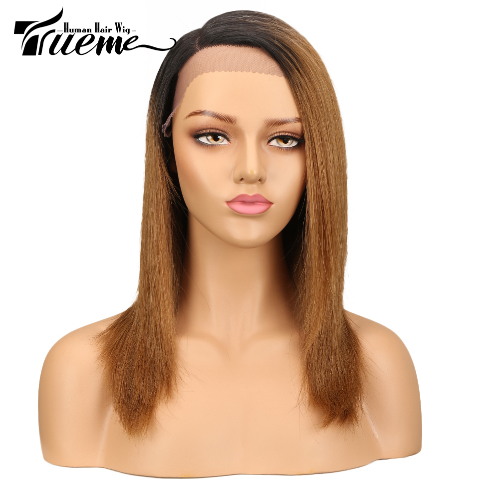 Trueme Lace Front Human Hair Wigs For Women Brazilian Straight Remy Hair Ombre Color Side Middle Part Bob Lace Wig
