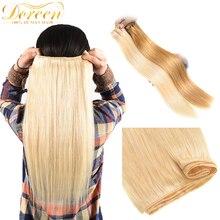 """Doreen 100% Menschliches Haar bundles Brasilianische Gerade Haar Spinnt Einschlag Maschine Made Remy Haar Blonde Haar Bundles 10 """"zu 26"""""""