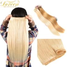 Tissage en lot 100% naturel brésilien Doreen, cheveux humains lisses Remy, couleur blond, 10 à 26 pouces, sur trame, faites Machine