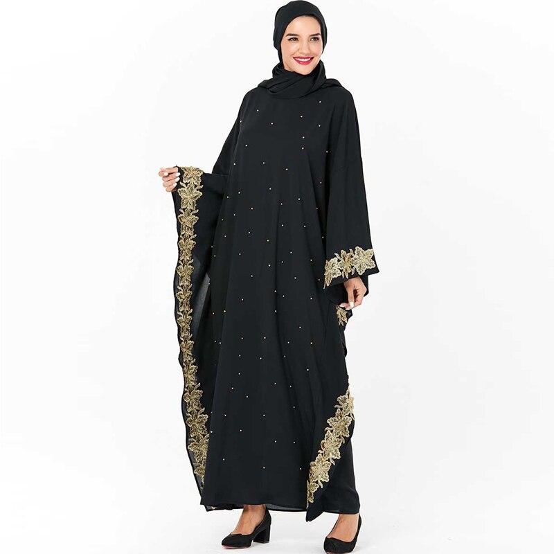 Plus Size Black Floral Dubai Abaya Turkish Dresses Hijab Muslim Dress Islamic Clothing Abayas For Women Caftan Kaftan Robe Arab