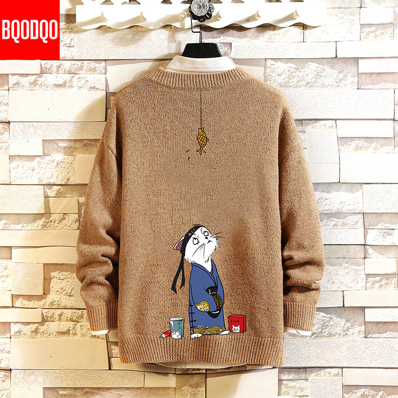 Funny Anime Print Jumper Sweater Men Knitted Hip Hop Crewneck Designer Sweaters Mens Japanese Streetwear Long Sleeve Pullovers